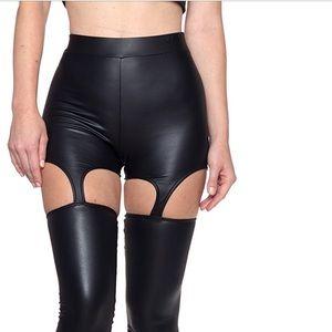 Patent faux leather garter pants shorts leggings
